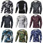 Fashion Print Mens Slim Sport Fit T-Shirts Long Sleeve Casual Tops Blouse Muscle
