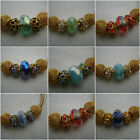 5 Bead mix -gold  rhinestone - mesh - beads fit European charm bracelets