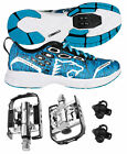 Venzo MTB Shimano SPD Shoes Blue + Wellgo C002 Multi Pedals