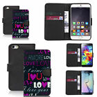 Black pu leather wallet case cover for most mobiles - purple love message