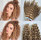 """16""""-30"""" Remy Human Hair Extensions Seamless Curly Tape In Skin Weft Hair 50g"""