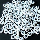 10 500 1000 MIXED WHITE ACRYLIC ALPHABET LETTER A-Z ROUND COIN SPACER BEAD 7mm