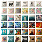 Art Animal Decorative Cotton Linen Throw Pillow Case Cushion Cover Sofa Car 18