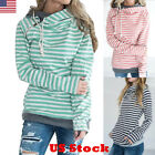 Fashion Women's Slim Stripe Hoodie Hooded Sweatshirt Coat Jacket Pullover Top US