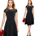 Women Sexy Elegant Floral Crochet Lace Ruched Party Evening Skater A-line Dress