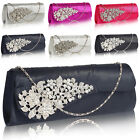 New Medium Designer Ladies Clutch Diamante Satin Women Bridal Evening Prom Bag
