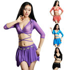 Latest Women Belly Dance Costume Set Solid Color Tops Skirt Performance Clothes