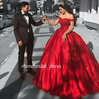 Off the Shoulder Red Wedding Dresses Lace Prom Formal Quinceanera Ball Gown 2018