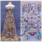 Hot fashion style Mixed colours heavy embroidery wedding dress lace fabric 51''