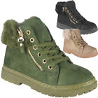 New Womens Ladies Faux Fur Lining Zip Sneakers Lace Up Flat Trainers Shoes Size