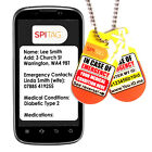 SPItag Medic Alert Identity Tag Necklace Case of Emergency ID Sends SMS Text* FR