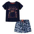 Pyjamas Baby Boys Summer Pyjamas Set (Sz 0-2) Pjs Navy Robot 758 Size 0 1 2