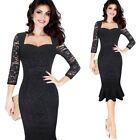 Womens Elegant Floral Lace Party Evening Cocktail Mermaid Midi Mid-Calf Dress