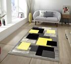 Modern Thick Quality Rug Silver Yellow Grey Floor Rugs Long Hall Runners Soft