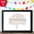 PERSONALISED Word Art FAMILY TREE Gift Anniversary Wedding Engagement New Home