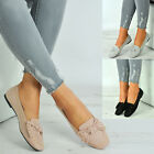 New Womens Studded Bow Slip On Flat Ballerinas Ladies Shoes Size Uk 3-8