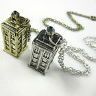 Chain Pendant 3D Doctor Who TARDIS Police Box Pewter Tall Necklac_