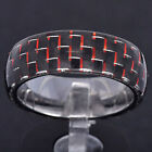 8mm Tungsten Jewelry Black & Red Carbon Fiber Inlay Dome Top Men's Wedding Band