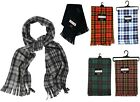 SOFT COSY TARTAN CHECK FLEECE SCARF RED GREEN BROWN BLUE SCARVES WITH TASSLES