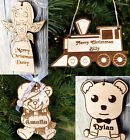 Wooden First Christmas personalised child bauble decoration tree ornament fairy