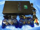 Sony Playstation 2 Console System + 2 Rare Blue PS2 Controller & Memory Card