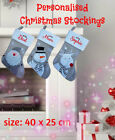 Quality Personalised Kids Christmas Stockings, Embroidered Name, Grey Stockings