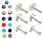 Small Sterling Silver 925 Crystal Cz Tiny Stud Earrings 1.5mm 2, 2.5, 3 & 4mm