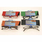 READING GLASSES PLASTIC HINGED RIM 4 COLOURS 1 TO 2.5 STRENGTH AND CASE POUCH