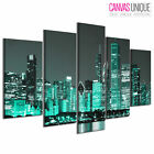 PC344 Cyan New York City  Scenic Multi Frame Canvas Wall Art Print