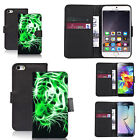 Black pu leather wallet case cover for most mobiles - green tiger