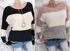 ITALY Mode Strick Pullover Winter Pulli Grobstrick Weich Dick 36/44