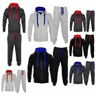 New Kids Boys Girls Contrast Hooded Sports Jogging Tracksuit Hoodie Top Bottoms