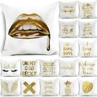 "18"" Polyester Gold Letters Throw Pillow Case Sofa Car Cushion Cover Home Decor image"