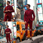 Custom Red Fashion Formal Men's 2 Piece Tailored Fit Stripe Suit Regular Size