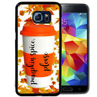 PUMPKIN SPICE RUBBER CASE FOR SAMSUNG S8 S7 S6 S5 EDGE PLUS FALL COFFEE LEAVES
