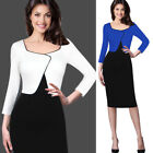Womens Contrast Color-Block Faux Jacket Long Sleeve Work Business Sheath Dress