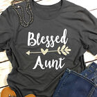 Blessed Aunt Heart Arrow Tee Women's Letter Printed T-Shirt Top O-Neck