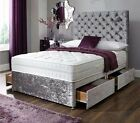 """DOUBLE 4FT6 SILVER VELVET DIVAN BED WITH 10"""" MEMORY MATTRESS+DRAWERS+ HEADBOARD"""