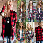 Women Long Sleeve Loose Casual Cardigan Tops Autumn Fashion Plaid Outwear Blouse