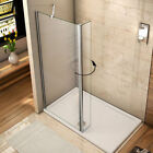 Walk In Shower Enclosure Wet Room Screen&300mm Flipper Glass Panel Tray+Waste