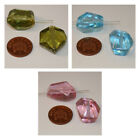 2 Large Green/Blue/Pink Irregular Shaped Spanish Resin Beads size 23x22x14mm