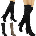 Womens Ladies Mid Calf Boots Fold Over Long Stretch High Cuban Heel Shoes Size