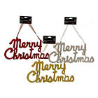 Small Hanging Glitter Merry Christmas - Red, Silver or Gold