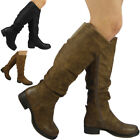 Womens Ladies Knee High Rouched Long Calf Rider Boots Zip Low Heel Shoes Size