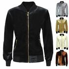 CLEARANCE WOMENS VELVET LADIES VELOUR BOMBER HOODIE JACKET RETRO CLASSIC TOP