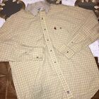 Wrangler Mens Size Large L Shirt PBR Yellow Plaid Rodeo Bull Riding Button Front