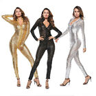 Внешний вид - 4XL Plus Size Women Sexy Zipper PU Leather Clubwear Jumpsuit Bodysuit Catsuit