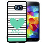 PERSONALIZED RUBBER CASE FOR SAMSUNG NOTE 8 5 4 3 STRIPES TEAL HEART