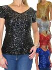 ICE All Over Sequin Top V Neck Evening Party 6-14