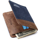 Men's Money Clip PU Leather Canvas Short Wallet Card Holder Bifold Purse Pocket